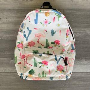 Handbags - Tropical Print White Backpack